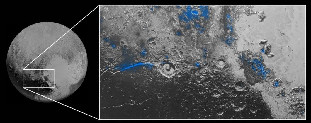 Traces de glace d'eau sur Pluton