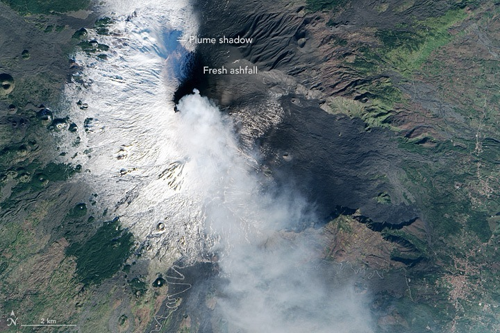 Dépôt de cendres sur l'Etna