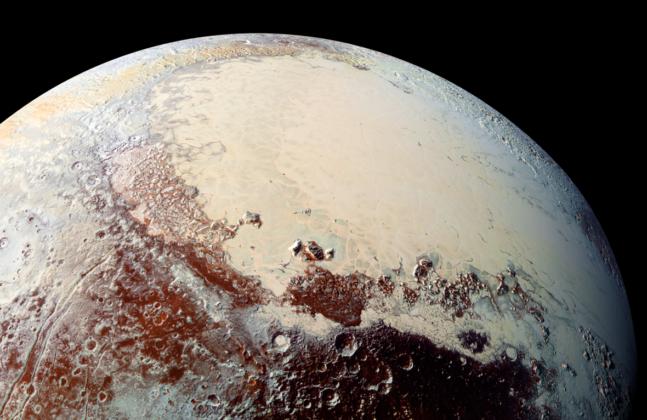 Sputnik Planum en couleur sur Pluton
