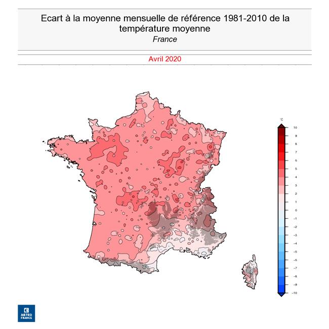 Carte de la France montrant les ecarts de temperatures par rapport a la moyenne de reference pour le mois d'avril 2020