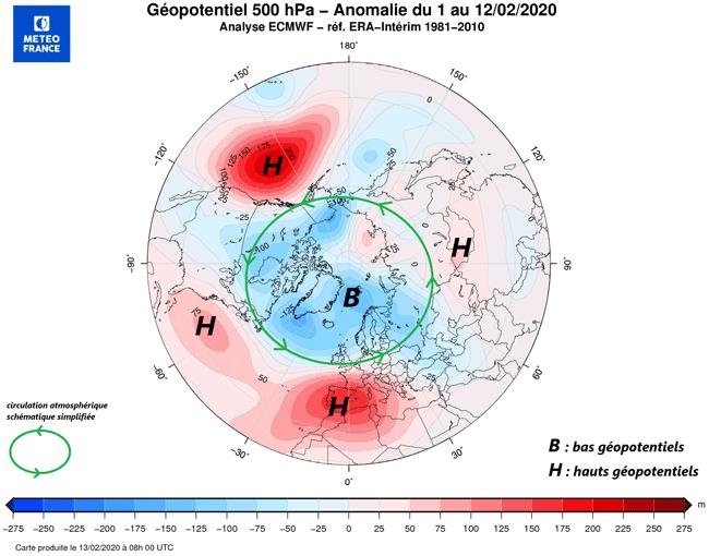 Carte montrant les ecarts de pression atmospherique entre l'Arctique et les latitudes plus basses en fevrier 2020