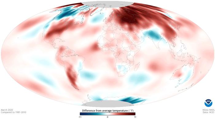Carte du monde montrant les anomalies de temperatures par rapport a la moyenne climatique de reference pour le mois de mars 2020