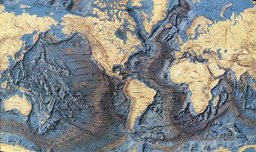 Carte des fonds marins mettant en evidence les dorsales oceaniques