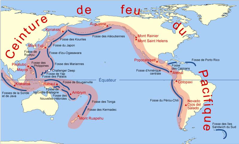 Localisation de la ceinture de feu du pacifique et des principaux aleas geologiques