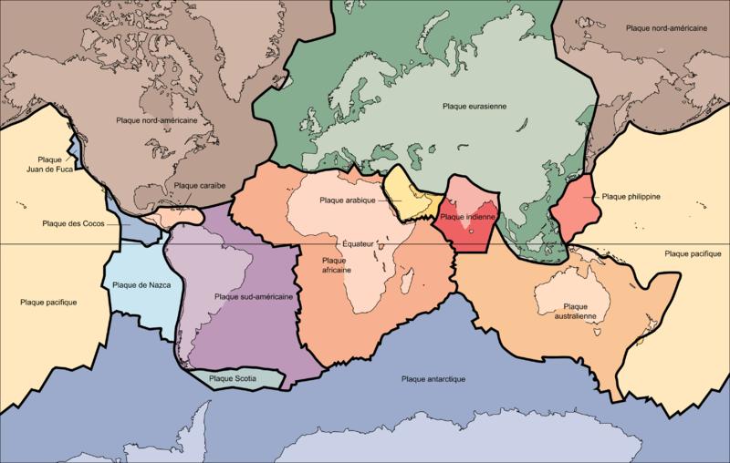 les principales plaques tectoniques de la planete
