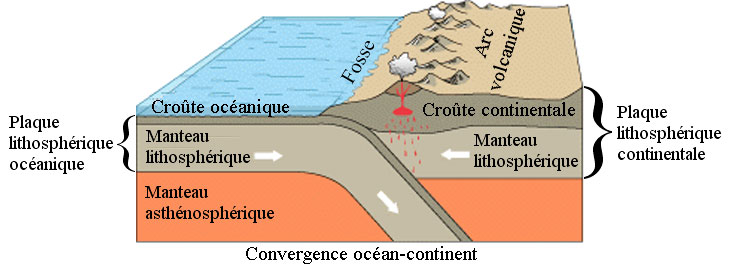 Schema du phenomene de subduction