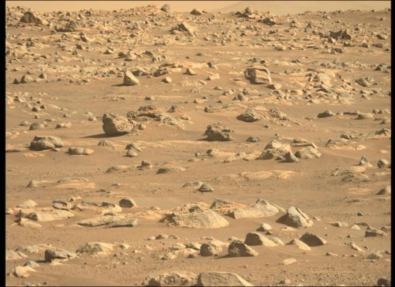 Sol martien rouge capturé par le rover Perseverance.