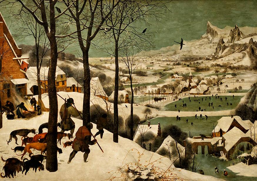 Peinture d'un hiver rude dessiné en 1565 par l'artiste Pieter Brughel.