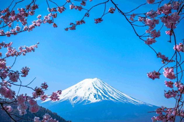 Le mont Fuji enneigé en hiver.