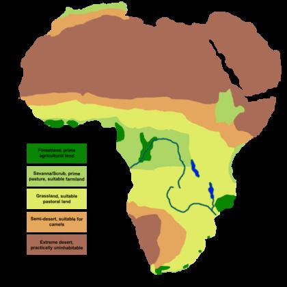 Schéma qui montre un Sahara désertique et un climat très sec il y a 14000 ans.