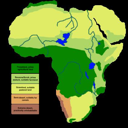 Schéma qui montre un Sahara verdoyant il y a 7000 ans.