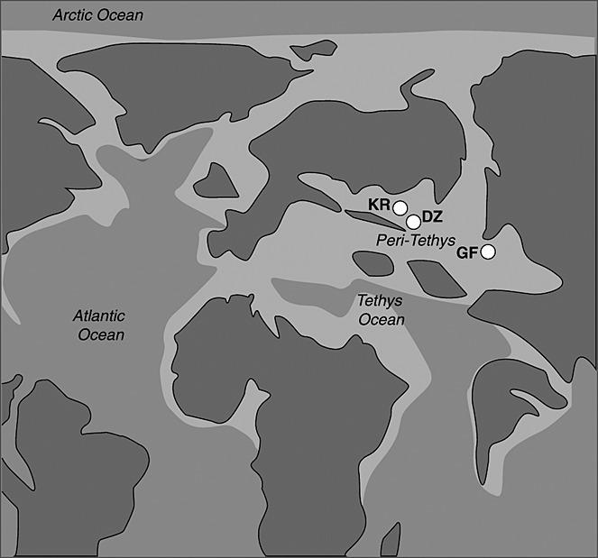 Représentation du paléo-océan Tethys, responsable de l'arrivée d'humidité dans le Sahara.