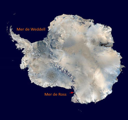Localisation de la mer de Ross au sud du continent Antarctique.