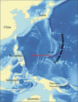 Localisation du Challenger Deep dans la fosse des Mariannes.